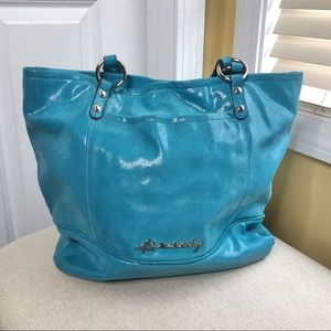 b. Makowsky Teal Snakeskin Shoulder Hobo Bag
